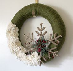 Winter Snowflake Wreath, Forest Green and Off White Yarn and Felt - 14 inch size. $45.00, via Etsy.