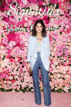 Ferragamo trousers and blazer, Club Monaco tank, DANNIJO and Jennifer Fisher necklaces.