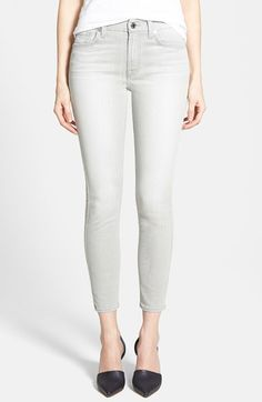 7 For All Mankind® Mid Rise Crop Skinny Jeans (Distressed Spring Grey) available at #Nordstrom