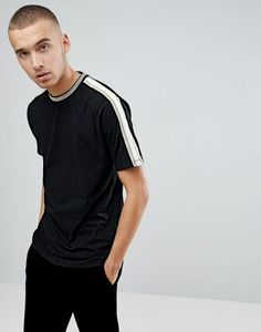 ASOS T-Shirt With Gold Tipping And Taping