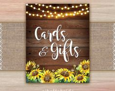 Yellow Rustic Sunflower Bridal Shower Table Signs Printable