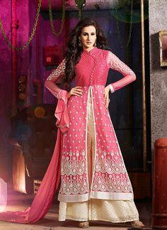 Achkan Style Incredible Salwar Kameez in Pink & Net Fabric
