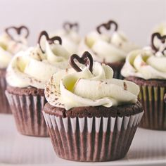 Dark Chocolate (Flourless) Cupcakes Topped With Ganache And Vanilla Buttercream