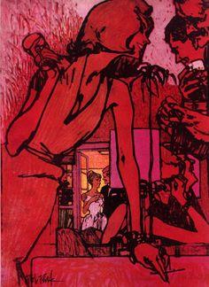 Illustration by Bob Peak for Cosmopolitan Magazine, August 1960 Bob Peak, Illustration Art, Illustrations, Arte Obscura, Funky Art, Art Hoe, Psychedelic Art, Pretty Art, Art Sketchbook