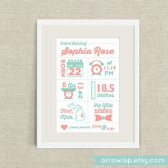 Modern Infographic Birth Announcement poster for baby boys and girls / A digital, printable, and customizable print on Etsy, $17.02 CAD