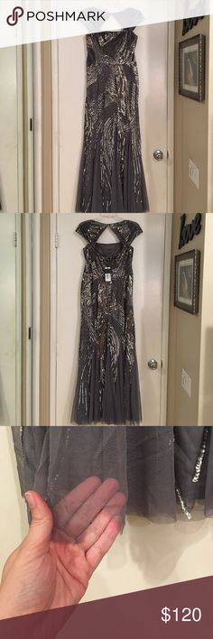 NWT Adrianna Papell Silver Sequin Mesh Gown 10 Fabulous gown with tags still attached- hard to find style and color. Has some sequins missing (extra bag of sequins included) but with the pattern on the dress- they aren't really noticeable. One small tear on hem in front- with how much fabric there is and close to the ground not noticeable when wearing. Built in bra cups too! I am SO SAD to have to sell this. Bought it without trying on and it is a little short for my height and the 4 inch…