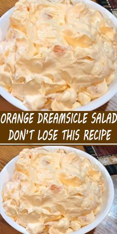 Ingredients: 1 box orange Jell-O 1 box instant vanilla pudding 1 cup boiling water cup cold water 1 Cool Whip 8 oz. Jello Recipes, Fruit Salad Recipes, Fruit Salads, Dessert Recipes, Dinner Recipes, Fluff Desserts, Cheesecake Desserts, Marshmallow Desserts, Salad
