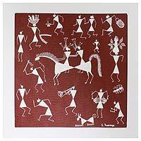 Folk Art Warli Painting - Marriage Procession | NOVICA