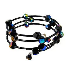 Glass Beads Wrap Bracelet ~ Black Iridescent