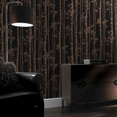 Graham & Brown Wallpaper | Linden Black/Copper | 100525