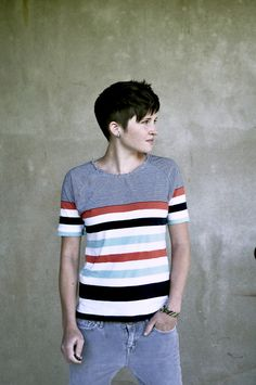 Stripes Swag.  Kinda a summer look.  Also, her haircut is like an extended mohawk. I like it.