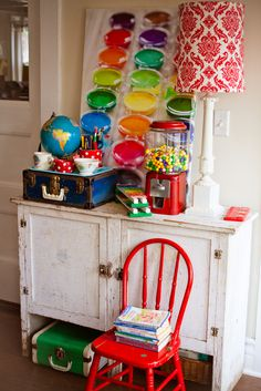 Colorful and artsy room decor for a child's craft room or any room in the home.