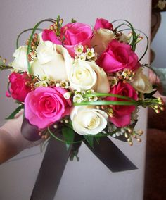 Pink, White, and Brown Wedding Bouquet by: Heather Petrus