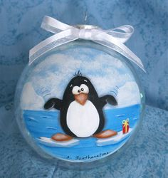 Holiday Christmas Ornament Whimsical Penguin by IrenesArtwork
