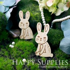 2Pcs Large Handmade Lovely Rabbit Charms / Pendants (LC026)