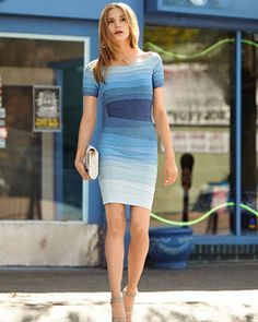 d29001bdd4 Celebrity Elegant Blue Gradient bodycon bandage dress cocktail evening  Short sleeve XS-L