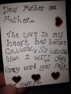 Boy note, emotional bribery?  :-)