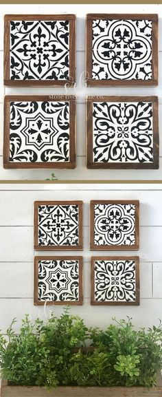 These would looks so good in a bathroom, dining room, gallery wall... well anywhere! Set of 4 Spanish tiles mini wood signs   wall decor   farmhouse decor   rustic kitchen decor   fixer upper   Gallery wall decor   farmhouse sign   Farmhouse tile signs #ad