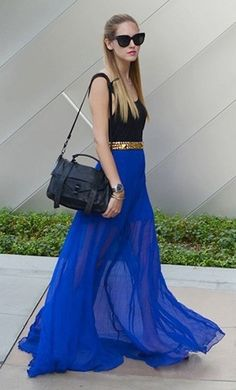 Blue Plain Pleated Bohemian Maxi Skirt