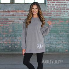 Your new favorite athleisure look is here! Throw on a pair of leggings and this monogrammed tunic with sneakers to look cute and comfy for a day on-the-go! Sweatshirt Tunic, Monogram Sweatshirt, Fall Outfits, Casual Outfits, Cute Outfits, Fashion Outfits, Marley Lilly, Casual Maternity, Winter Wardrobe