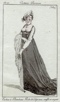 A black crepe dress, an10 Costume parisien -- I'm assuming this belongs under mourning since the dress is made of crepe, but more research will need to be done