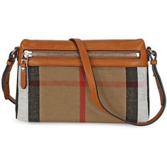 Burberry Small Canvas Check and Leather Clutch Bag - Saddle Brown (395 CAD) ❤ liked on Polyvore featuring bags, handbags, clutches, canvas handbags, genuine leather handbags, genuine leather purse, brown purse and burberry handbags