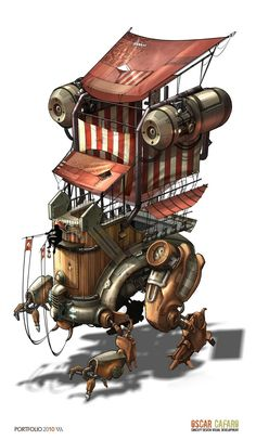 oscar+cafaro+steampunk+house+space+boat+ship+robot+crawler+walker+trackor+machine+mech+mecha+design+concept+art+building+sci+fi+2.jpg (930×1600)