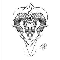 Diseños de tatuajes para mi Bull Skull Tattoos, Leg Tattoos, Body Art Tattoos, Sleeve Tattoos, Aries Symbol Tattoos, Aries Ram Tattoo, Ram Skull, Skull Art, Tattoo Sketches