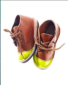 Brother Vellies leather children's Mini boot with neon toe-cap, $95