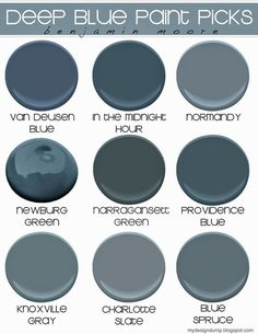 """Benjamin Moore Deep Blues... it's tough to decide which goes best with pewter and sage green! But I think It's one of these.<a data-pin-do=""""buttonFollow"""" href=""""https://www.pinterest.com/pinterest/"""">DeniseCassells</a>"""