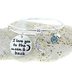 I love you to the moon and back Adjustable Bangle Bracelet with a Birthstone (BN021). by JC Jewelry Design on Opensky