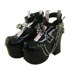 Amazon.co.jp: 【コスゾーン】ブラック 前7cm ヒール12cm 厚底 合皮 ゴム底 ゴスロリ ロリータ靴: 服&ファッション小物