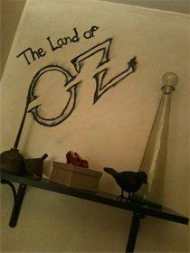 """""""Wicked"""" powder room; complete with life sized map of """"OZ""""."""
