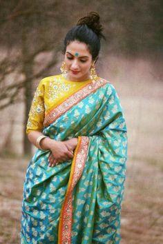 Top 5 South Indian Wedding Saree Trends - Pastel Color green and yellow Kanjeevaram saree South Indian Wedding Saree, South Indian Sarees, Saree Wedding, Indian Saris, South Indian Weddings, Indian Blouse, Bridal Lehenga, Indian Bridal, Saree Blouse Patterns