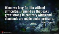 Explore more than 3 quotes from Peter Marshall. When we long for life without difficulties, remind us that oaks grow strong in contrary winds and diamonds are made under pressure. Diy Jewelry Necklace, Jewelry Model, Under Pressure, When Us, Jewellery Display, Diamonds, Strong, How To Plan, Words