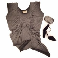 All Saints Draped Gray Top Gorgeous All Saints top. Size UK, fits like a US large. Deep gray tones with an uneven hemline. Gorgeous cut, very distressed-chic! Great condition. All Saints Tops