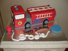 Firetruck Birthday cake, love the hydrant with name made from the water hose!