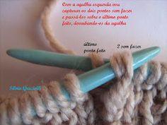 Olá meninas!! Montei esse PAP para orientar algumas alunas que me pediram o acabamento do decote em V com o ponto meia central em destaque..... Tear, Knitting, Alice, Crochet, How To Knit, Blue Trench Coat, Knit Vest, Knitting Patterns, Dressmaking