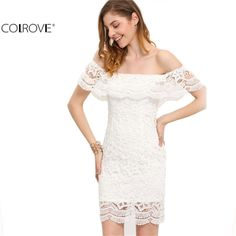 Sexy Women Mini Dresses White Off the Shoulder Short Sleeve  Strapless Lace Ruffle Bodycon Dress