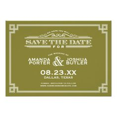 Elegant vintage modern art deco save the date wedding announcement design features a mix of classic traditional retro fonts with a Greek key art deco inspired border and ornamental scroll details. Click the CUSTOMIZE IT button to customize fonts, move text around, change paper types and background color to create your own unique one-of-a-kind invitation design. #art #deco #vintage #retro #modern #elegant #traditional #art #deco #invitations #save #the #date #vintage #save #the #date #elegant…