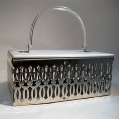 Vintage 1950s Lucite Wedding Purse Punched Metal/my grandmother had one just like this...