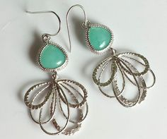 Mint Dangle Earrings with Silver Pendant Mint by TheCoralDahlia, $22.00