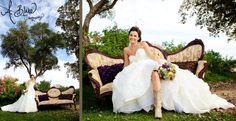 Purple and yellow wedding. Ranch wedding. Vintage couch. Ashley Blake. A. Blake Photography