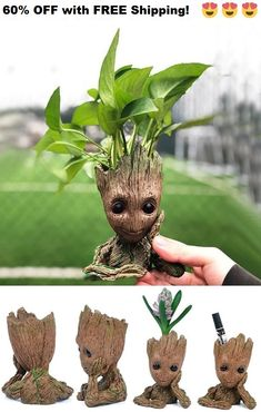 LOVE this Groot Man planet plot!!  This little flower pot is good for being inside on your desk, or outside in the garden. Makes an AMAZING home decor gift!!   60% OFF with FREE Shipping! Not sold in stores