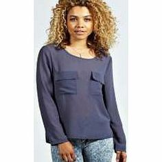 boohoo Mariah Pocket Oversized Woven Blouse - blue Update your wardrobe with this utility style blouse , perfect for working that boy-meets-girl look. Wear it with high rise mom jeans , cleated sole sandals and quirky ear cuff . http://www.comparestoreprices.co.uk/blouses/boohoo-mariah-pocket-oversized-woven-blouse--blue.asp