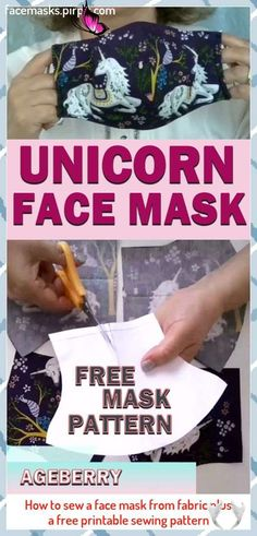 How to sew a face mask from fabric plus a free printable sewing pattern #Fabric<br> Free Printable Sewing Patterns, Free Printables, Diy Mask, Diy Face Mask, Face Masks, Pattern Fabric, Fabric Sewing, Free Pattern, Unicorn Face