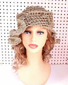 Summer Crochet Hat Womens Hat Summer Hat for Women Hemp Hat Sun Hat Beach Hat Natural Hat with Ruffle CYNTHIA Beanie Hat by strawberrycouture by #strawberrycouture on #Etsy