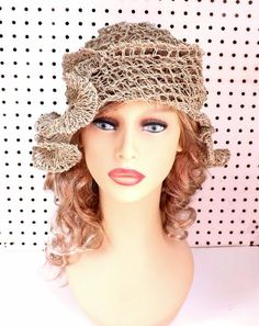 Crochet Sun Hat for Women  Womens Hat Trendy Hemp Hat  Natural Hat with Ruffle CYNTHIA Beanie Hat Formal Hat by strawberrycouture by #strawberrycouture on #Etsy