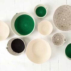 These multi-purpose bowl baskets are available in three sizes. The small bowls are great for storing odds and ends like keys, jewellery, or bathroom Rope Basket, Basket Weaving, African Traditions, Green Bowl, Cotton Rope, Jewelry Holder, Pattern Blocks, Interior Inspiration, Greenery