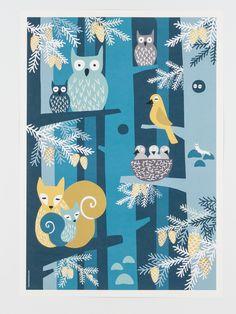 Poster Animals forest animals at night children's room by MUUMURU Modern Home Interior Design, Forest Animals, Scandinavian Design, Vintage Furniture, Finland, Kids Room, Art Prints, Lifestyle, Children